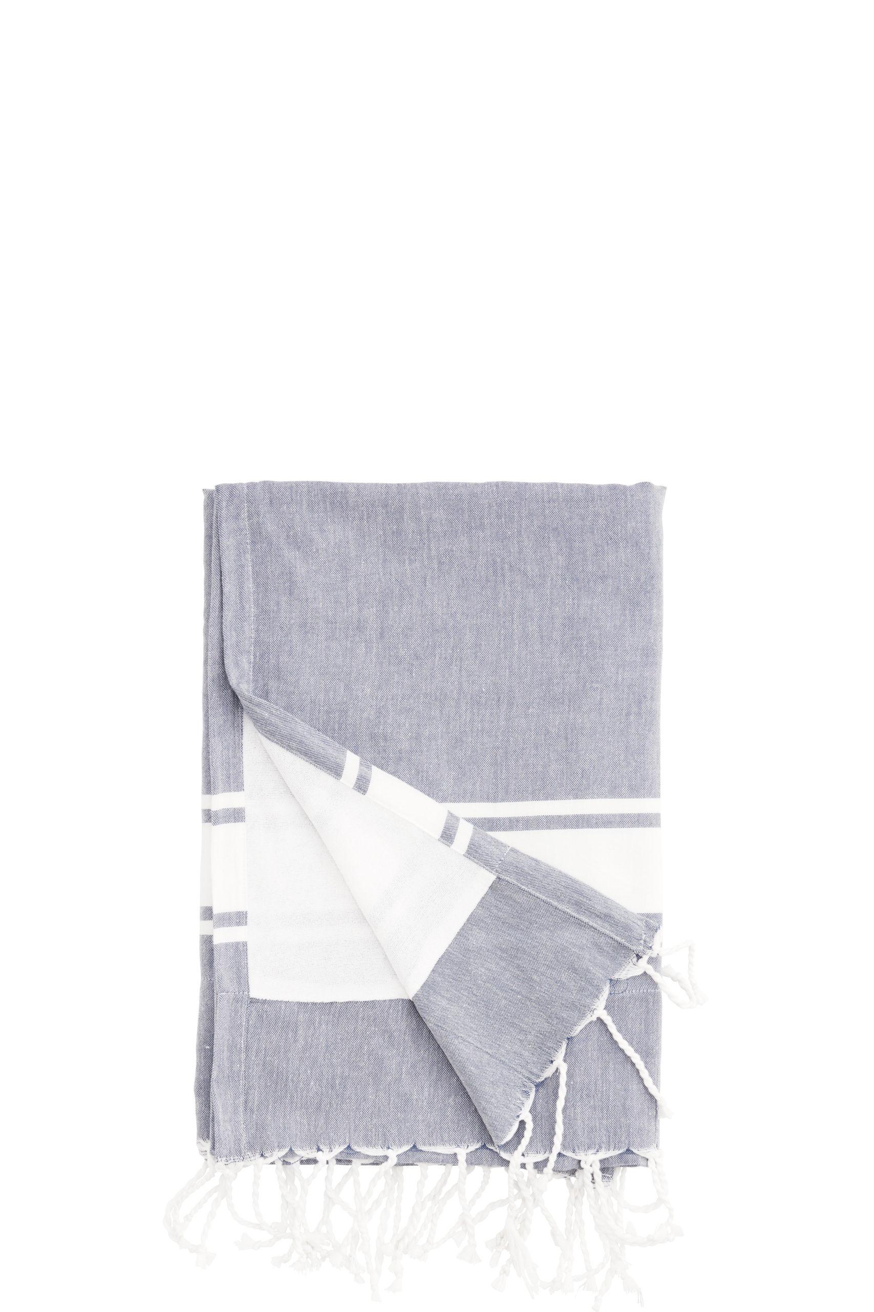 Fouta doublée / Serviette de plage gris avec bande blanche *  Madam Stoltz