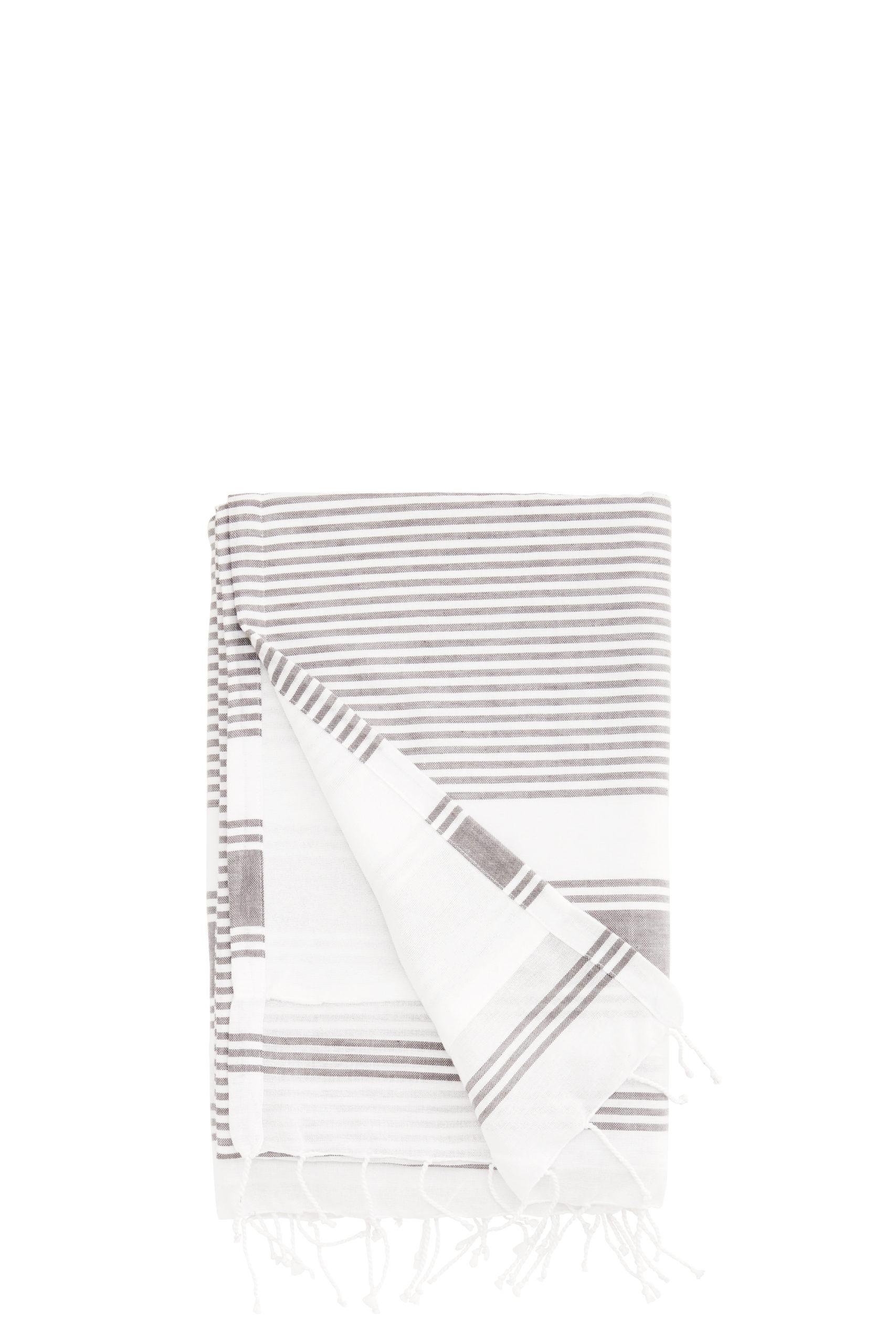 Fouta doublée / Serviette de plage lignée gris foncé/blanc * Madam Stoltz