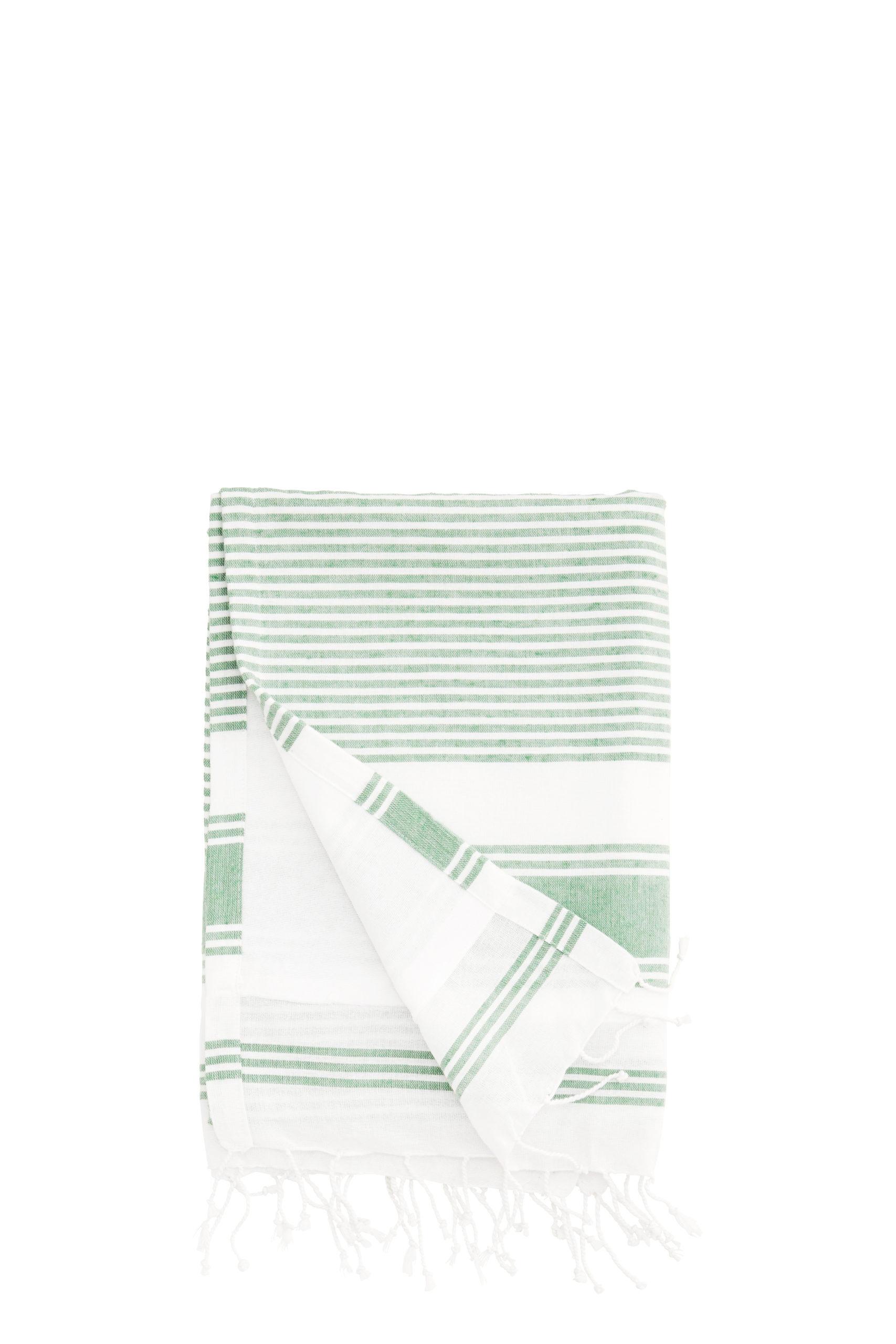 Fouta doublée / Serviette de plage lignée vert/blanc * Madam Stoltz