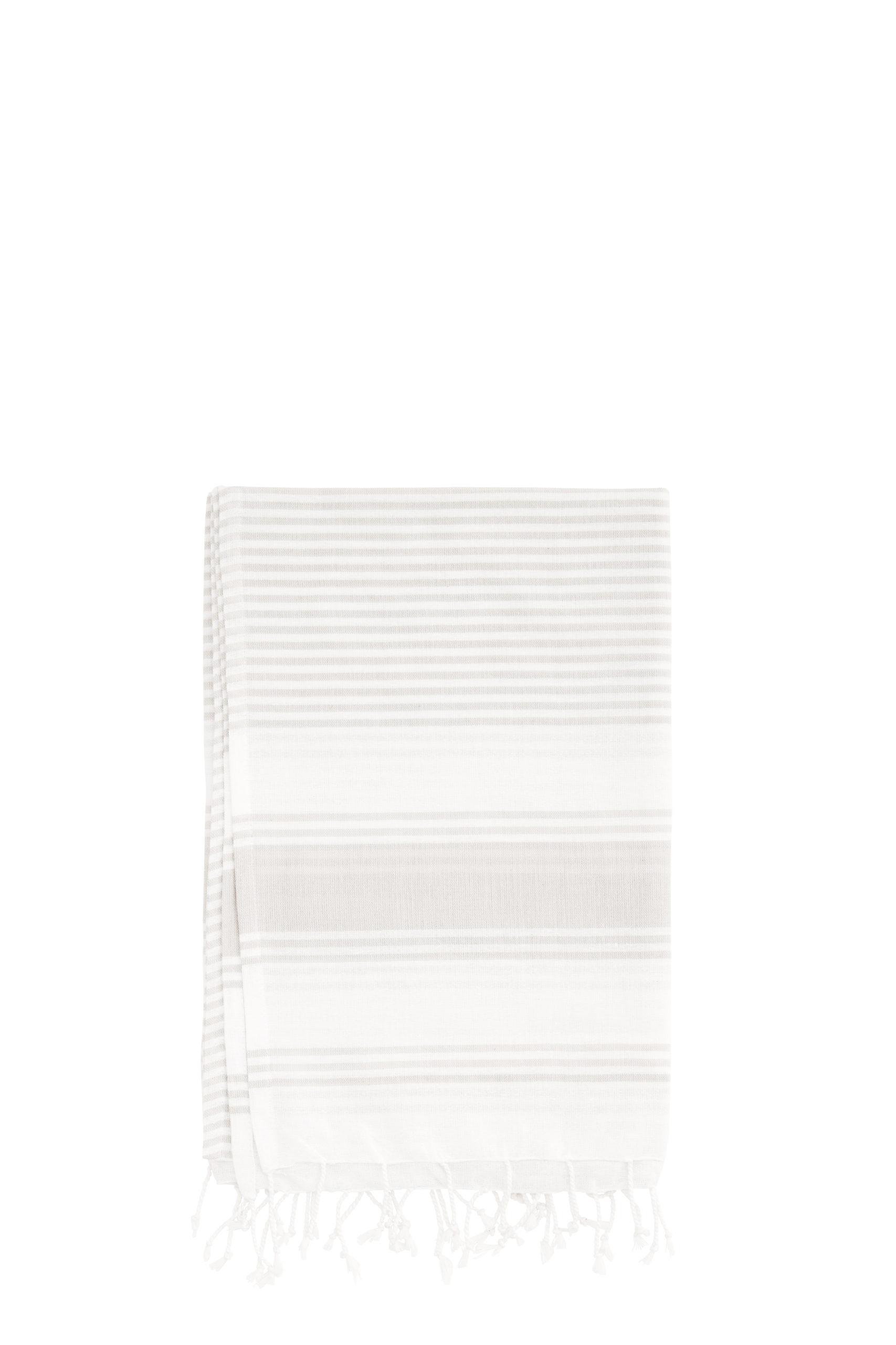 Fouta  simple lignée greige/blanc pur coton Madam Stoltz