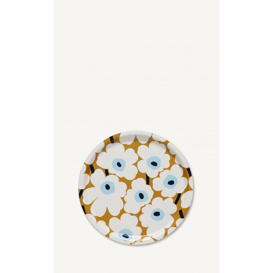 Plateau rond Mini-Unikko blanc-bleu-beige * Marimekko