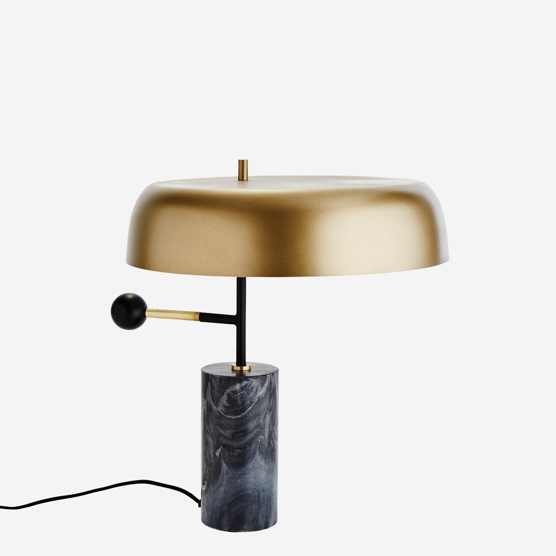Lampe à poser en marbre noir et abat-jour aspect laiton * Madam Stoltz.