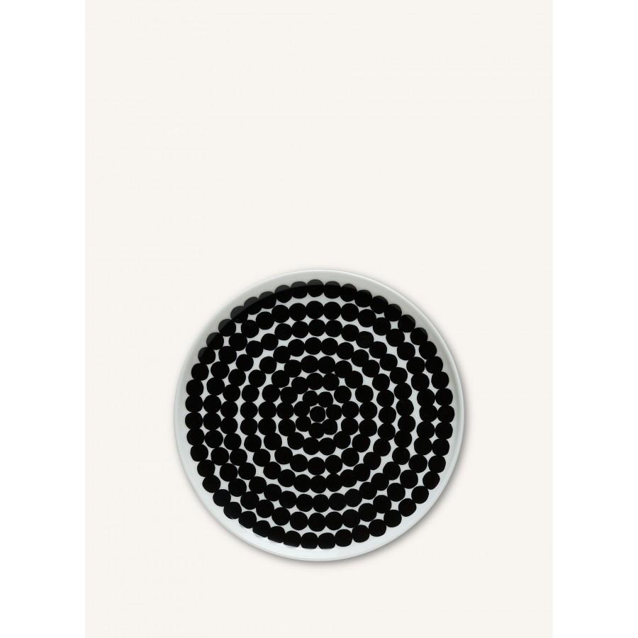 Assiette blanche à pois noir Oiva/Siirtolapuutarha * Marimekko