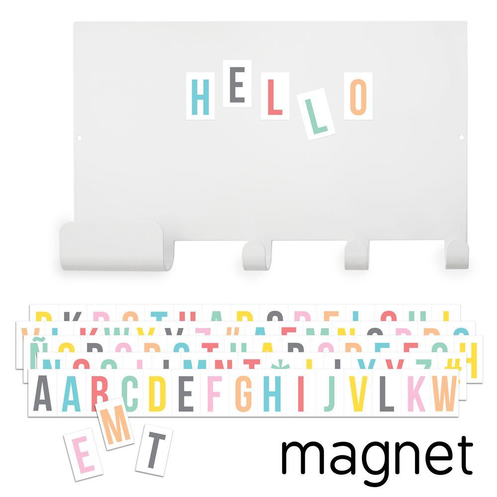 Tableau magnétique, crochets et lettres aimantées colorées * Tresxics