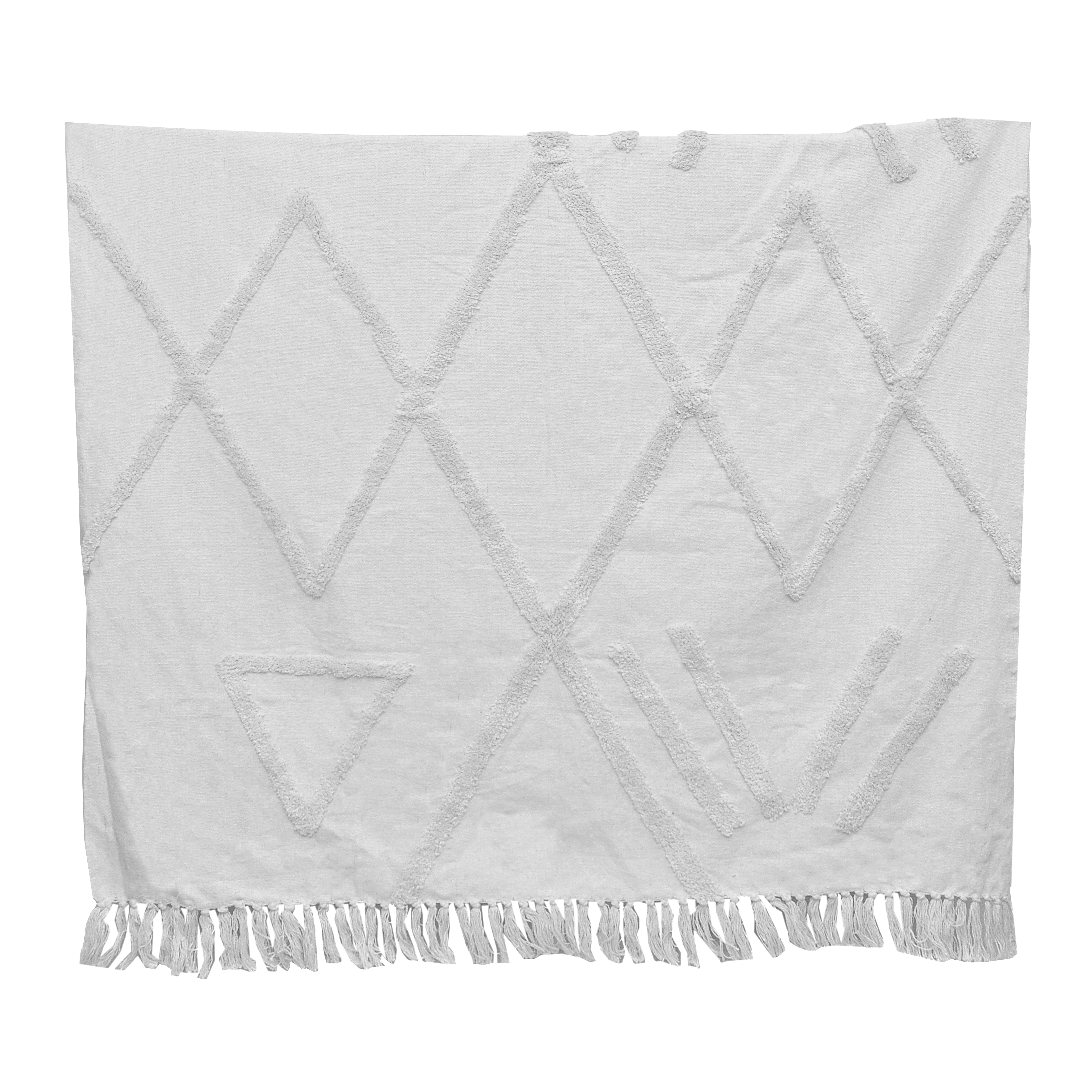 Plaid texturé en coton blanc Jamila * Dassie Artisan