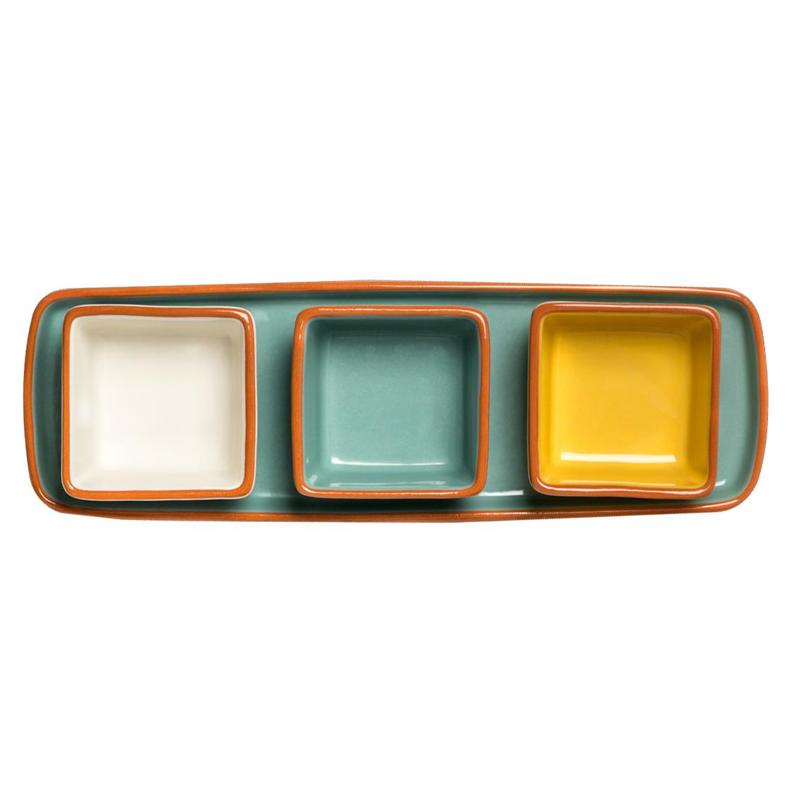 Set de 3 ramequins avec plateau en céramique bleu/blanc/curry * Dassie Artisan