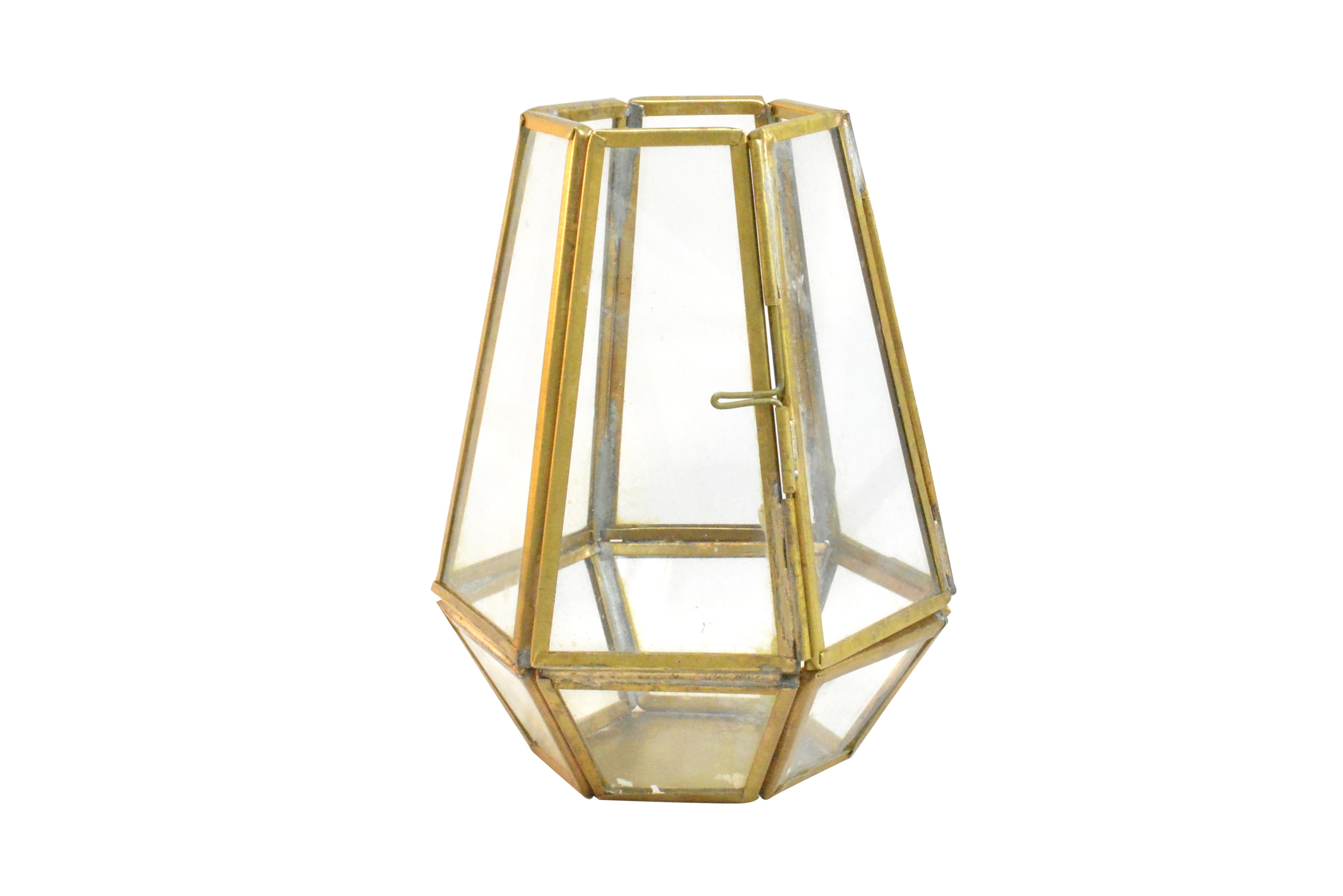 Lanterne - terrarium verre et laiton