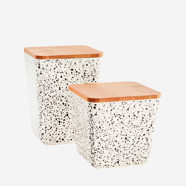 Set de 2 pots à conservation hermétiques en fibre de bambou granito * Madam Stoltz