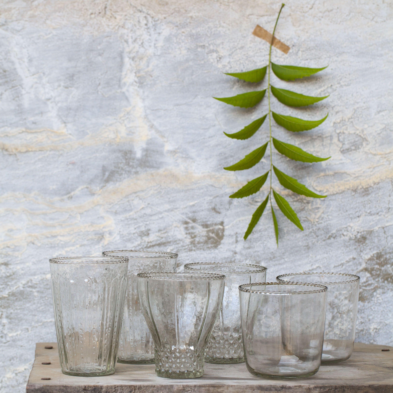 Set de 6 verres transparents en verre recyclé * Dassie Artisan