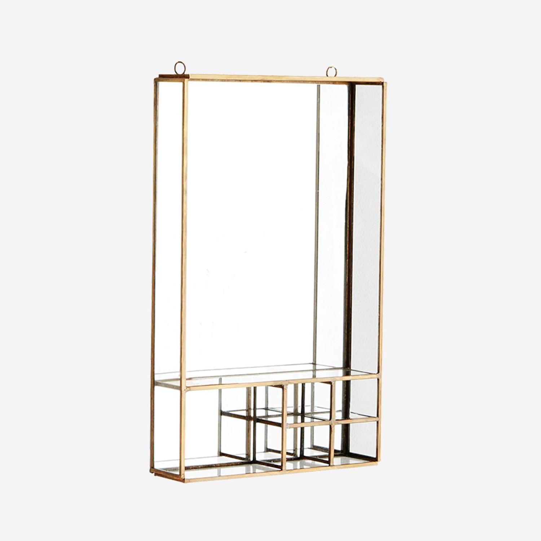 Etagère / miroir en verre et laiton * Madam Stoltz