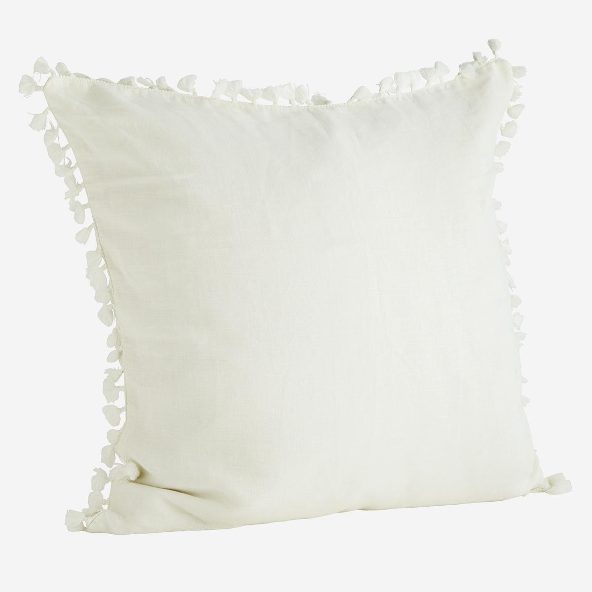 Housse de coussin 60x60 cm floches blanc en lin lavé * Madam Stoltz
