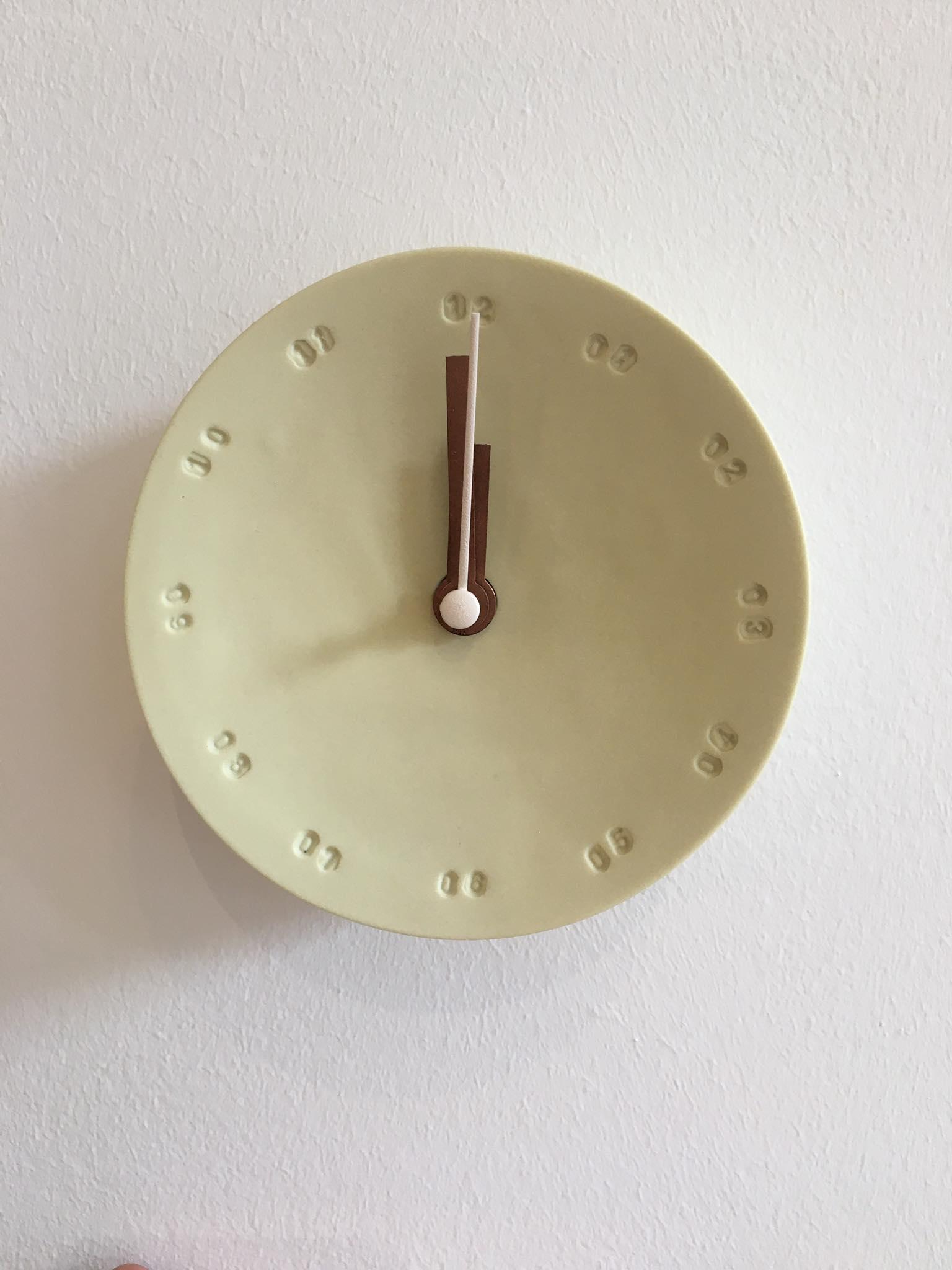 Horloge murale 10cm Jaune/blanc* Studio Harm en Elke