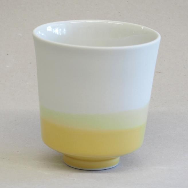 Cache-pot en porcelaine dégradé jaune * Studio Harm en Elke