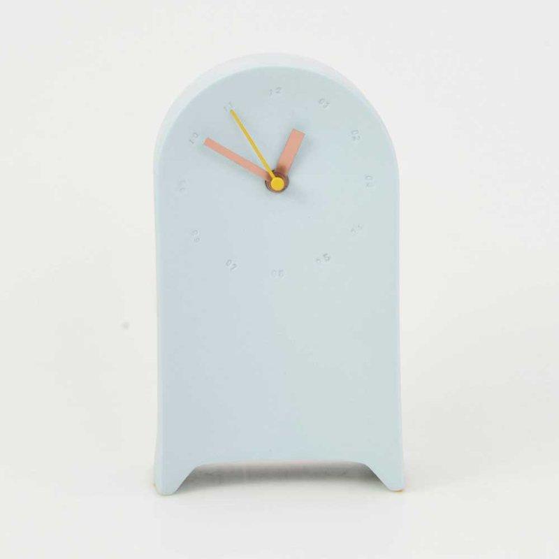 Horloge murale en porcelaine à poser bleue/jaune * Studio Harm en Elke