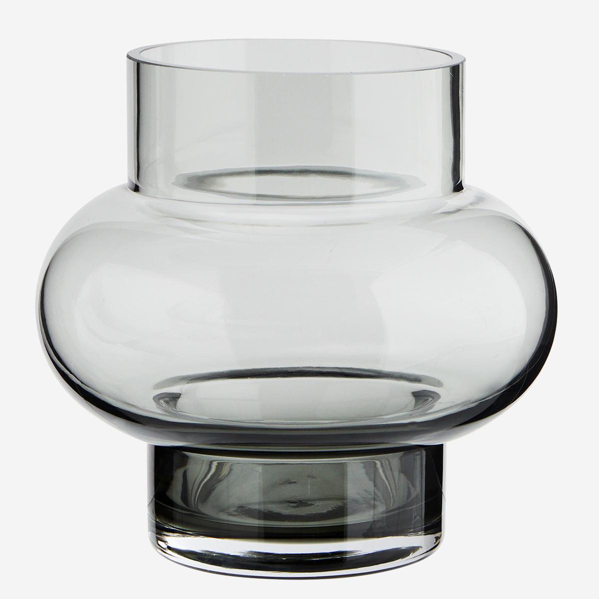 Vase rond en verre fumé gris * Madam Stoltz
