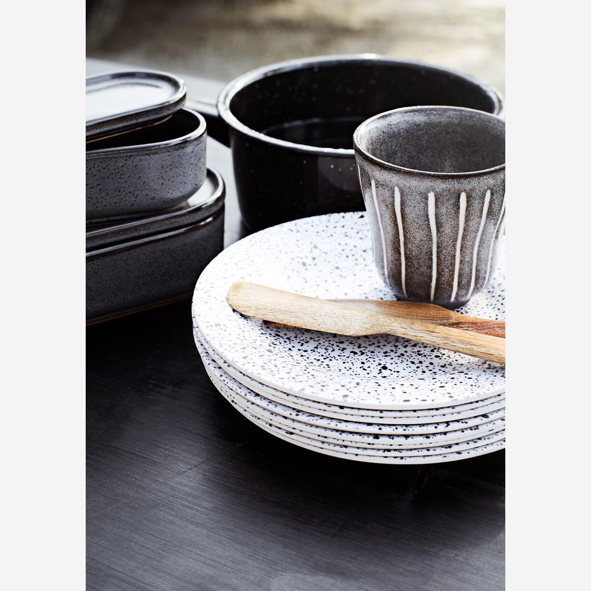 Set de 3 ramequins avec couvercles en céramique émaillée gris/noir * Madam Stoltz