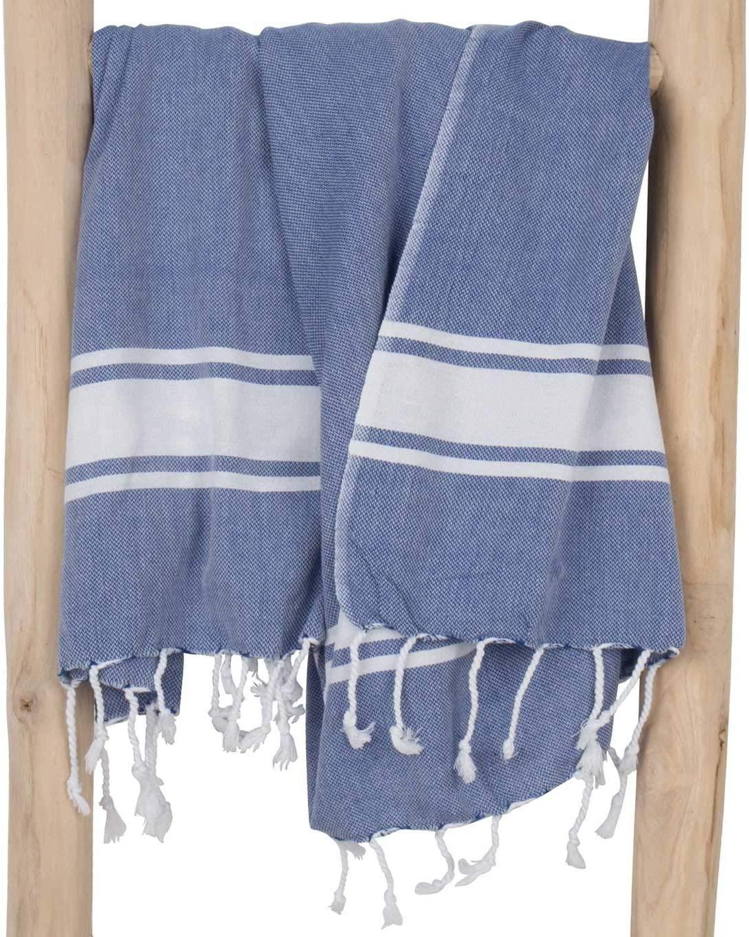 Fouta doublée / Serviette de plage bleue avec bande blanche * Madam Stoltz