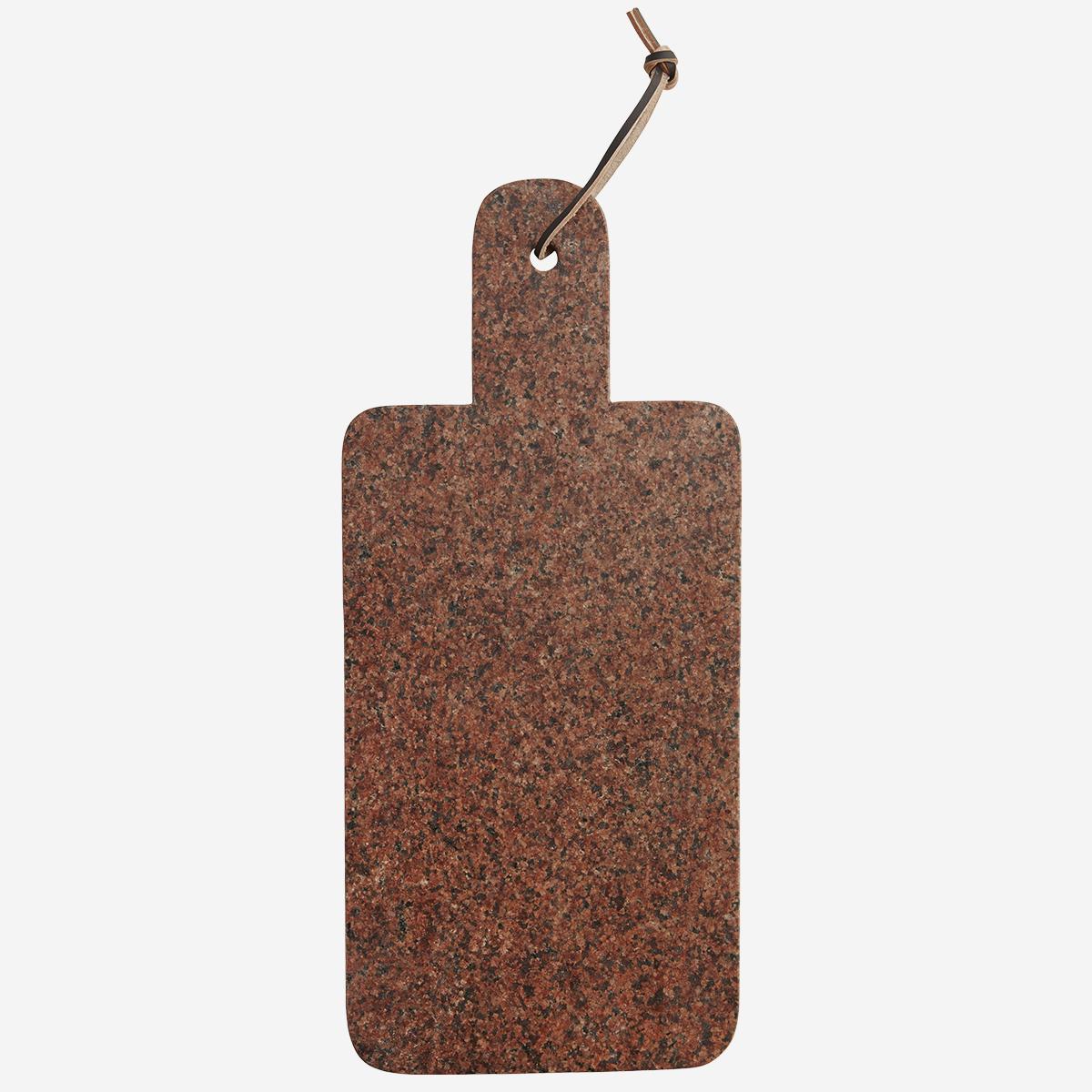 Planche à découper en granito rouge et cordon cuir * Madam Stoltz