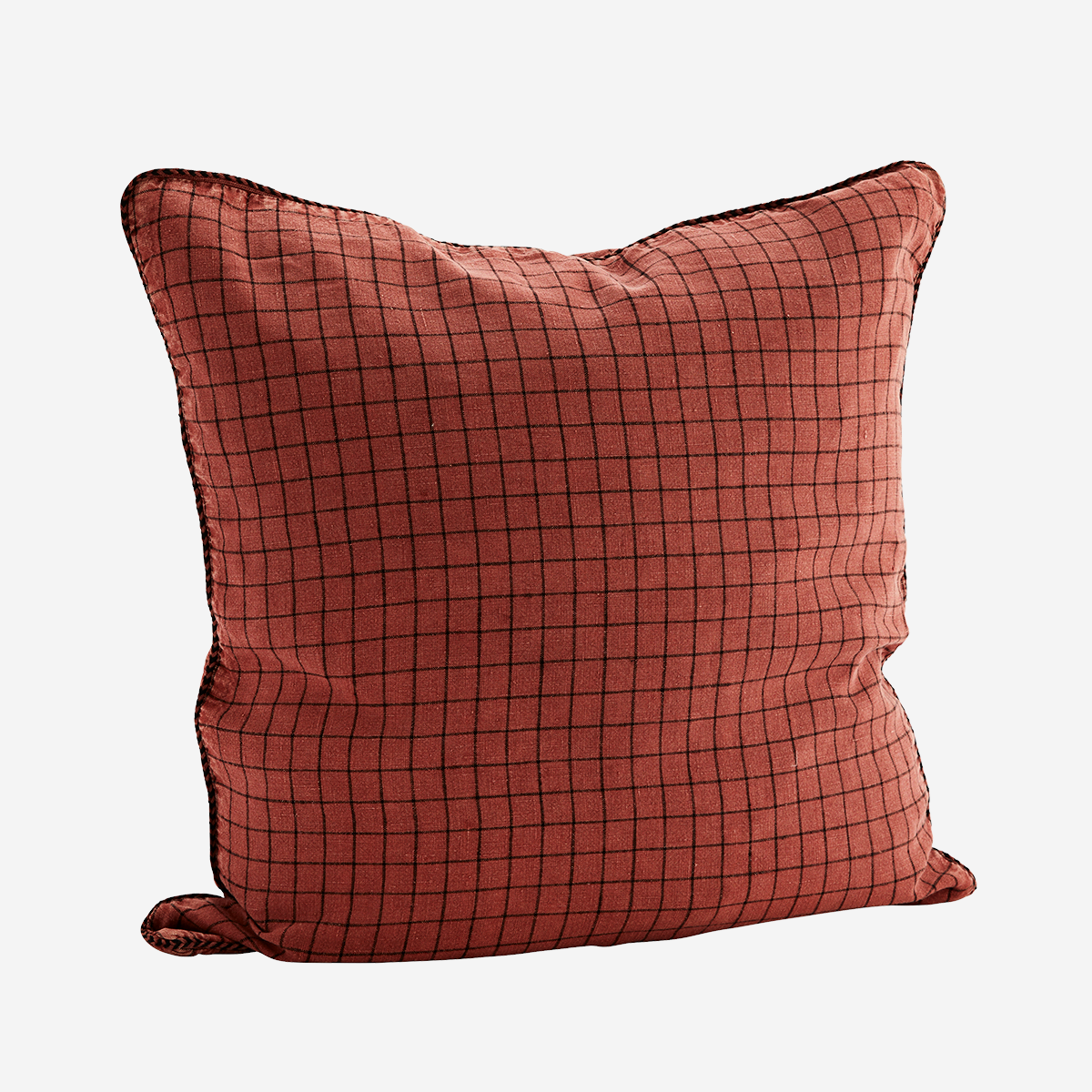Housse de coussin en lin lavé quadrillée rouge brique 50x50cm * Madam Stoltz