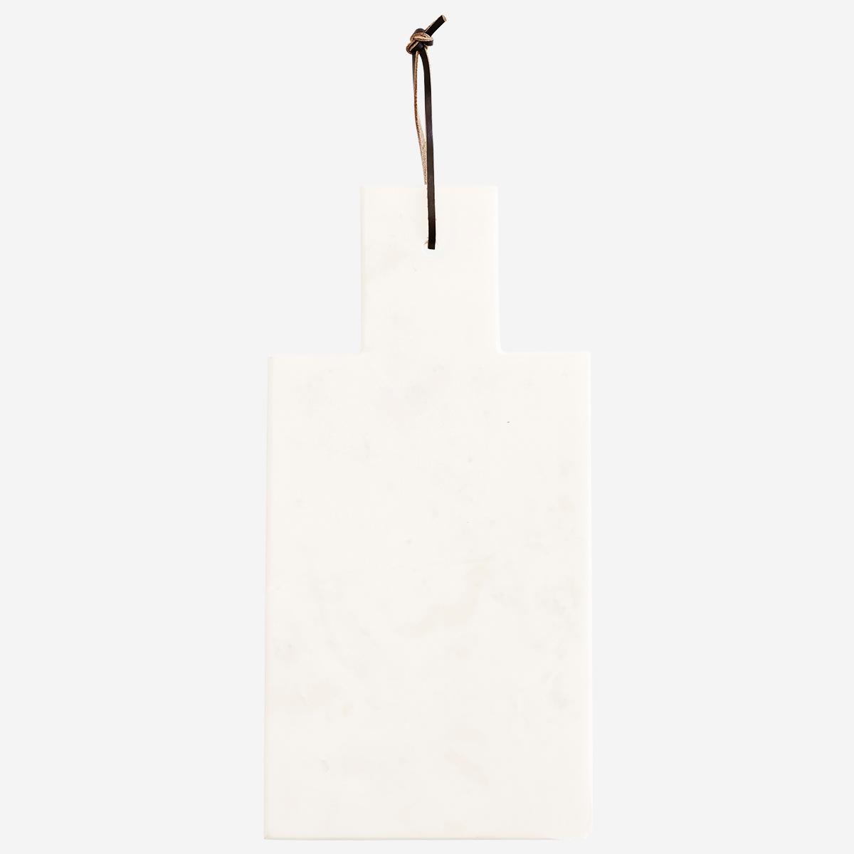 Planche à découper en marbre blanc et cordon cuir * Madam Stoltz