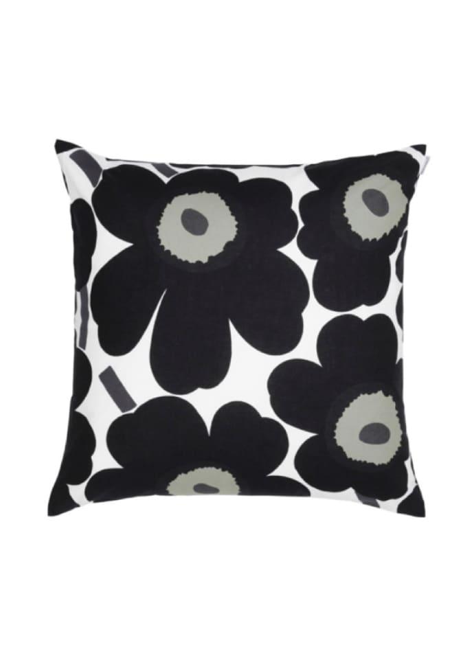 Housse de coussin Pieni Unikko Flower noir 50x50cm * Marimekko