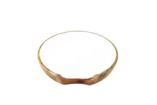 Repose-cuillère en bois de manguier & émail blanc
