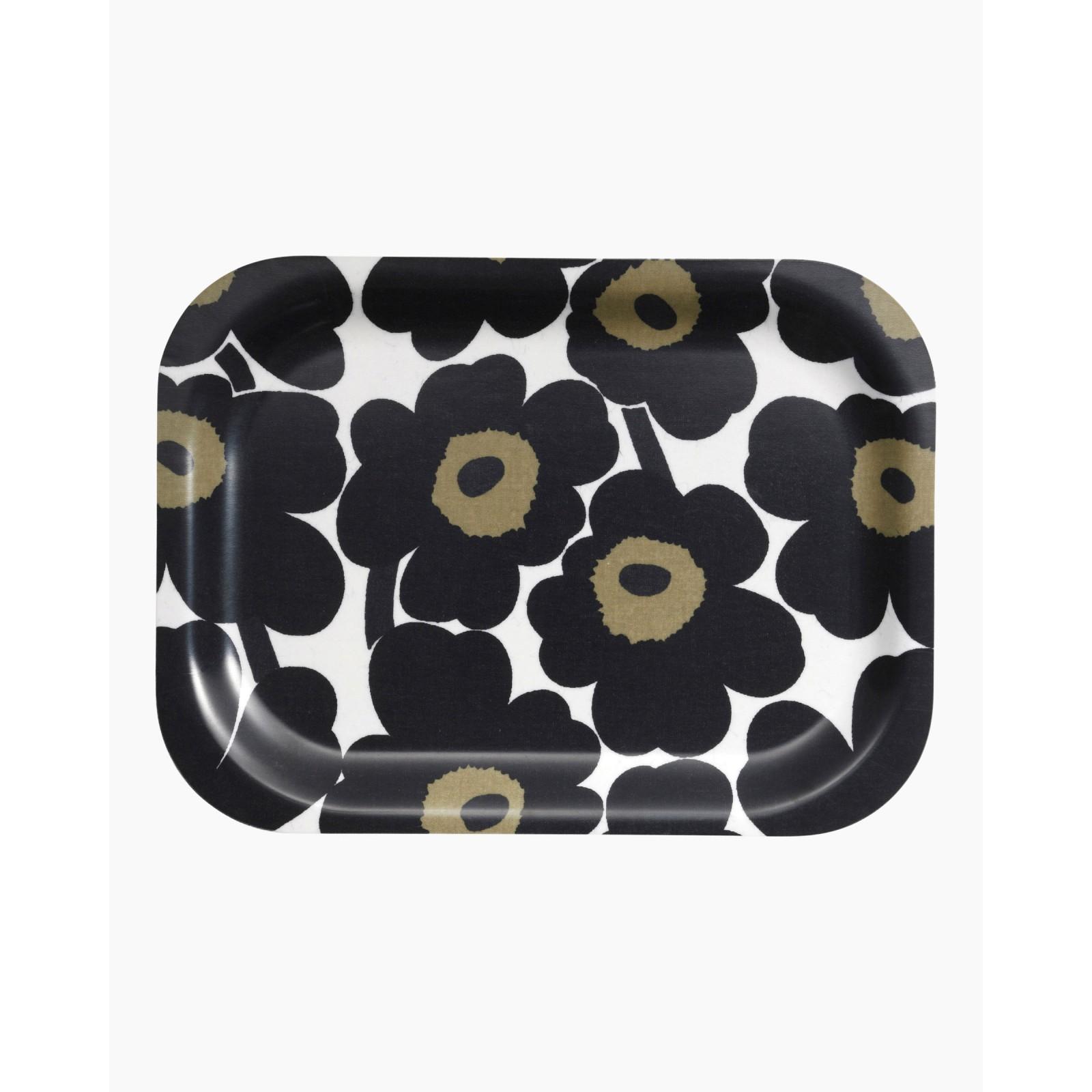 Petit plateau rectangulaire Unikko flower noir * Marimekko