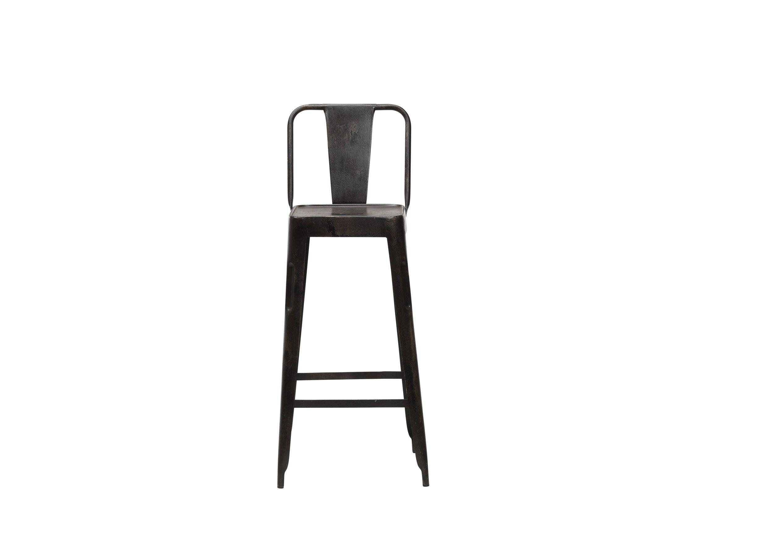 Chaise haute (77cm) en métal vieilli Chari * Nkuku