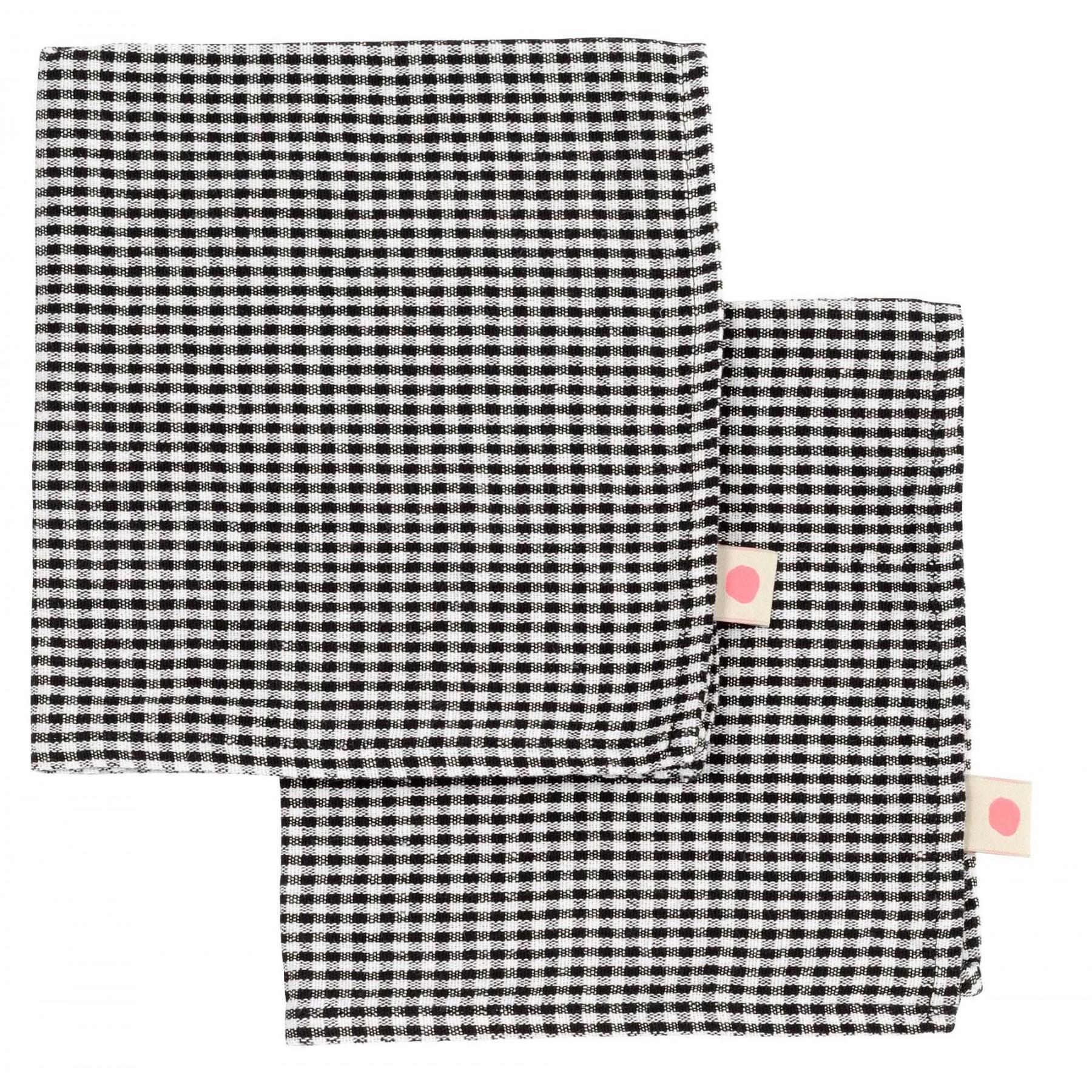 Set de 2x serviettes de table Vichy Ernest Caviar