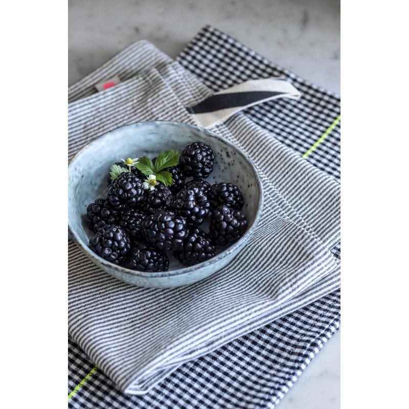 Essuie de vaisselle Finette rayé Caviar/blanc * La Cerise sur le gâteau