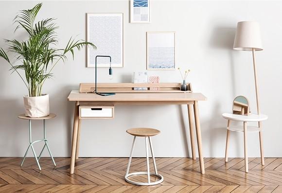 Bureau 'Honoré' chêne clair - plusieurs couleurs * Hartô Design
