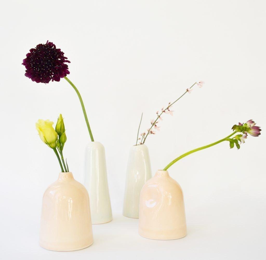 Petit vase remodelé en céramique rose pâle * Kesemy Design