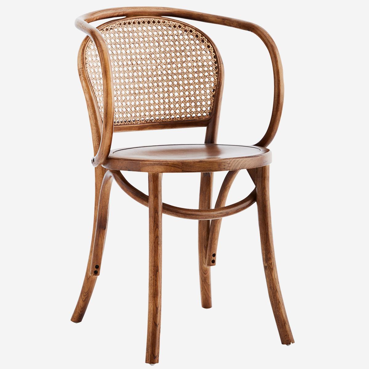 Chaise en bois d'orme et cannage