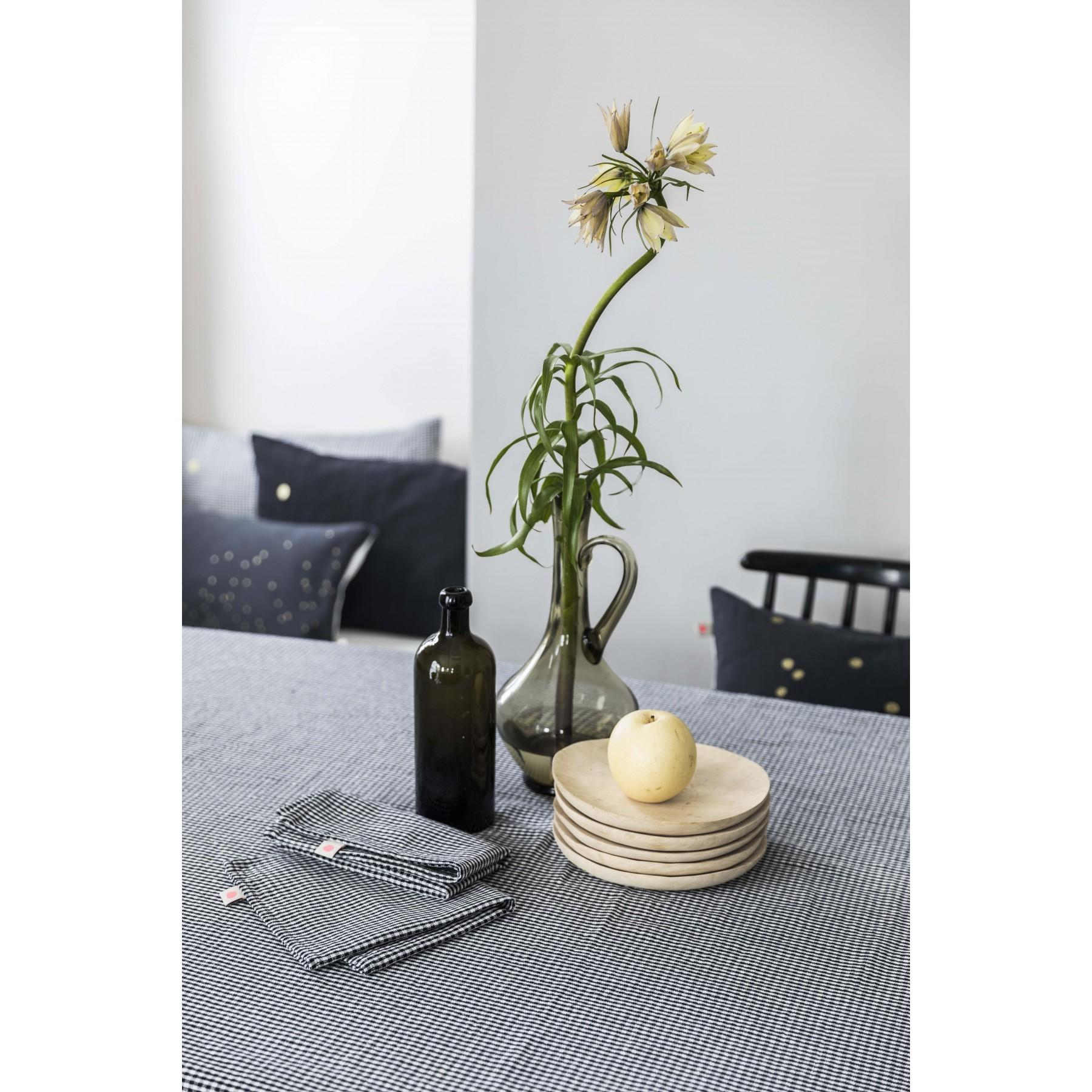Nappe Vichy noir et blanc Ernest Caviar 160x250cm * La Cerise sur le Gâteau
