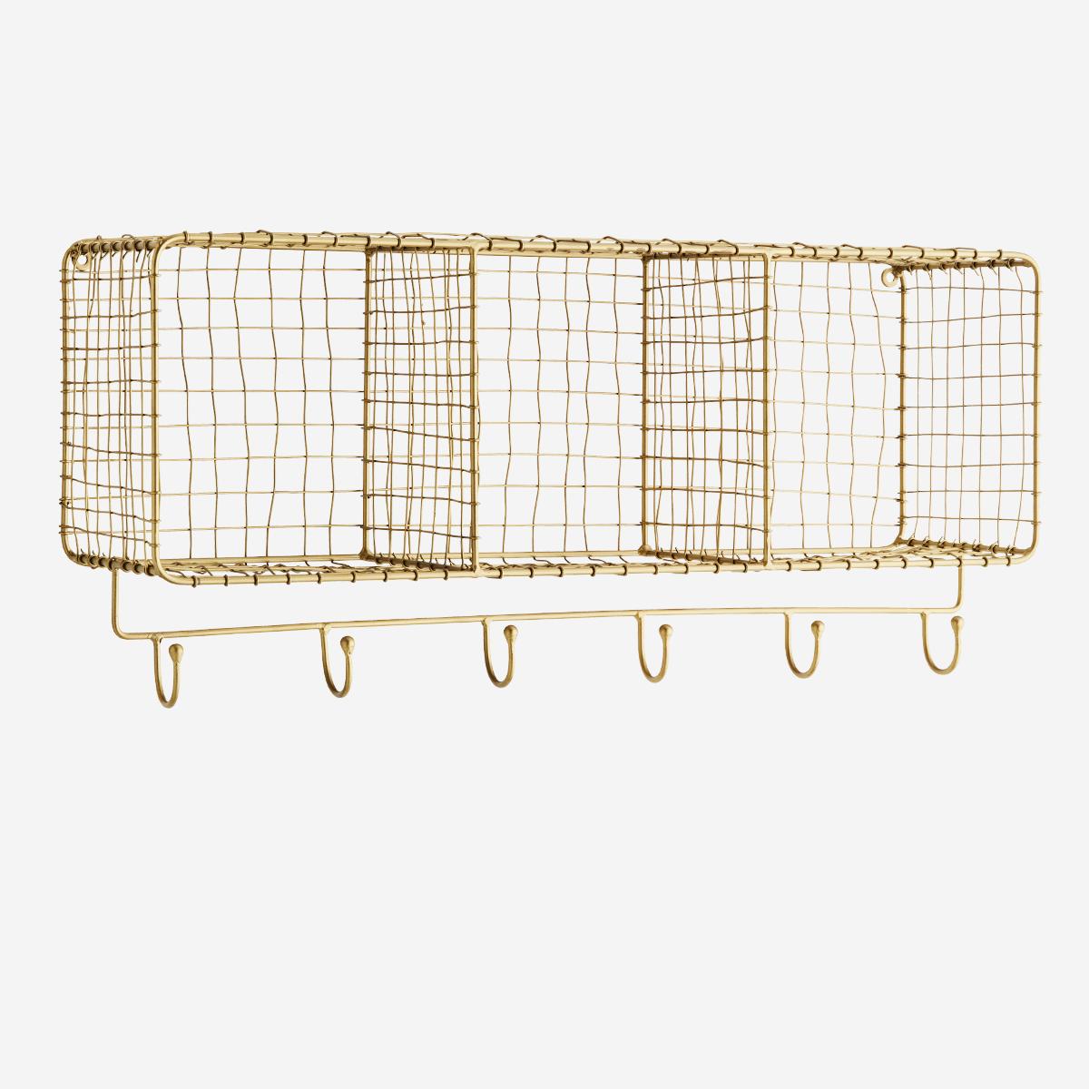 Etagère murale horizontale dorée 3 paniers et à 6 crochets * Madam Stoltz