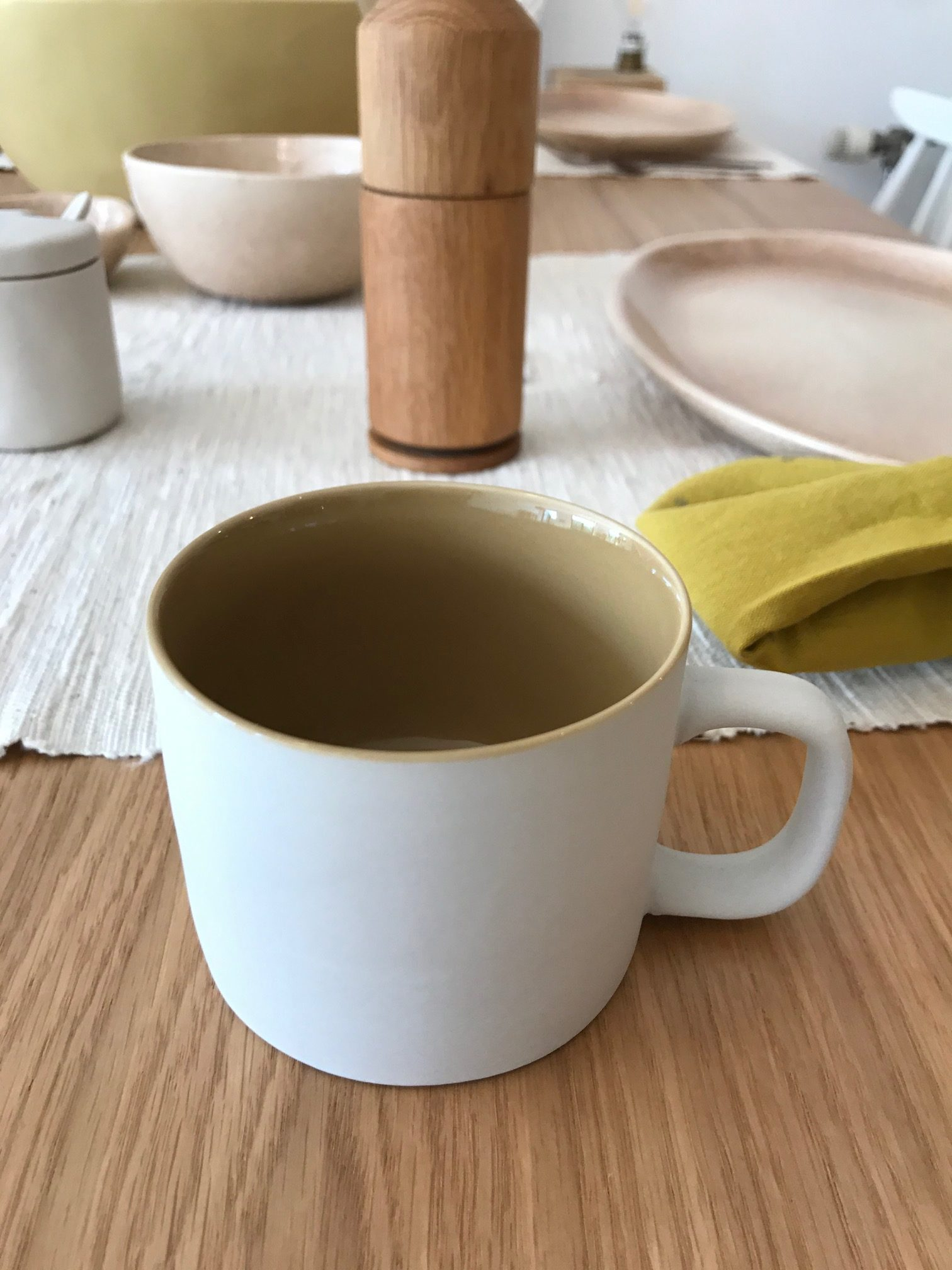 Tasse mate greige intérieur émaillé jaune moutarde  200ml * Kinta