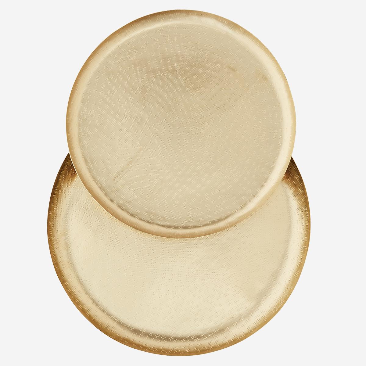 Plateau rond doré décoré - 2 tailles * Madam Stoltz