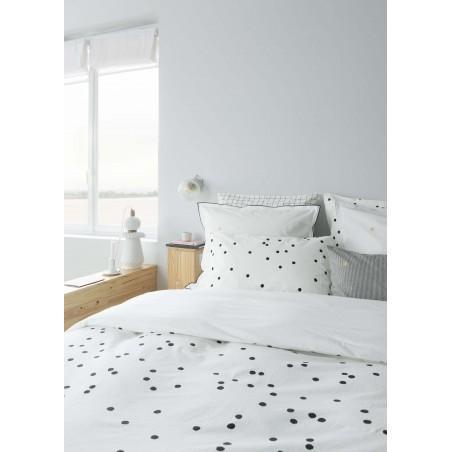Taie d'oreiller Pois Odette blanc Milk Coton bio - 2 tailles * La Cerise sur le Gâteau