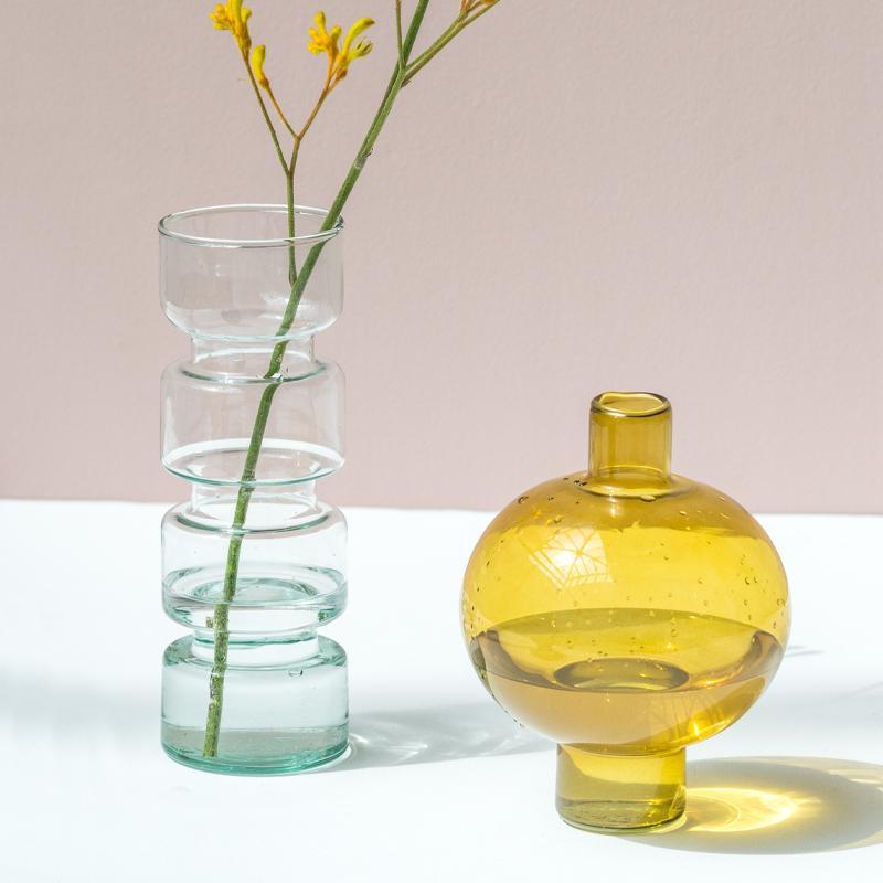 Vase haut en verre recyclé transparent