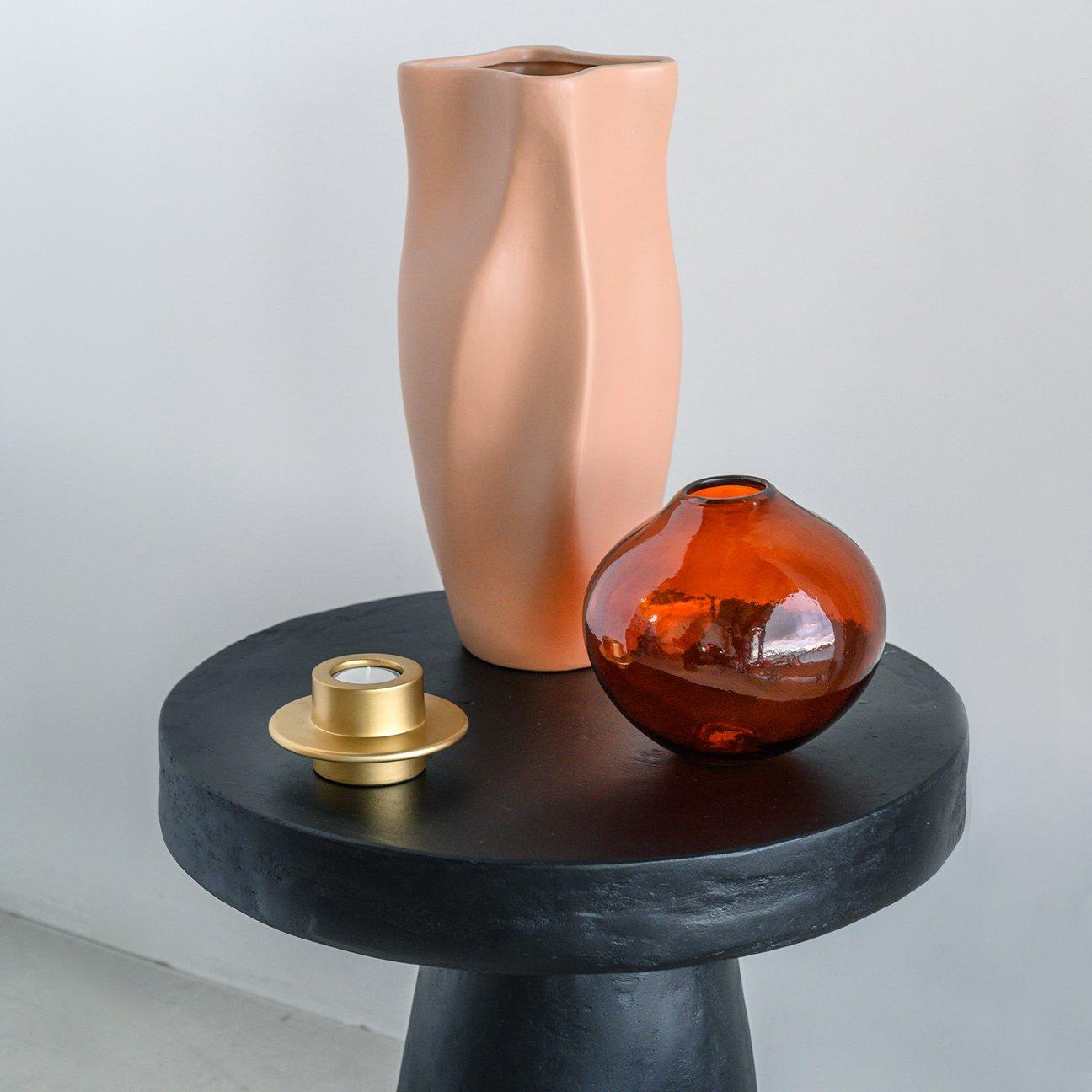 Bougeoir en aluminium doré