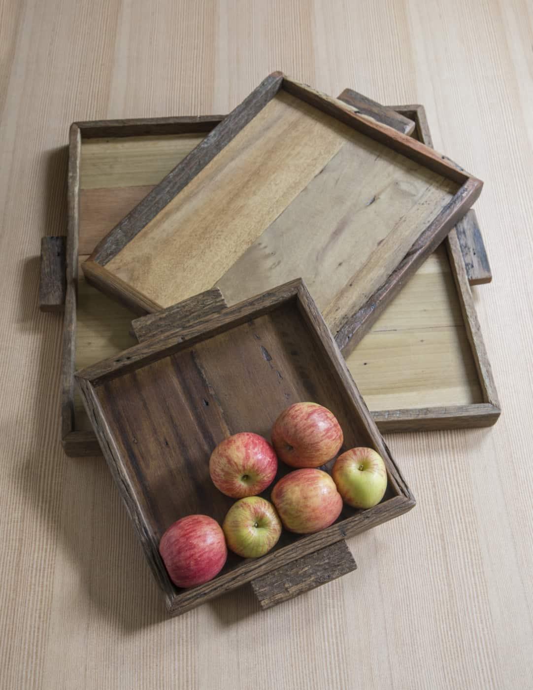 Plateau carré en bois de récupération * Be Home