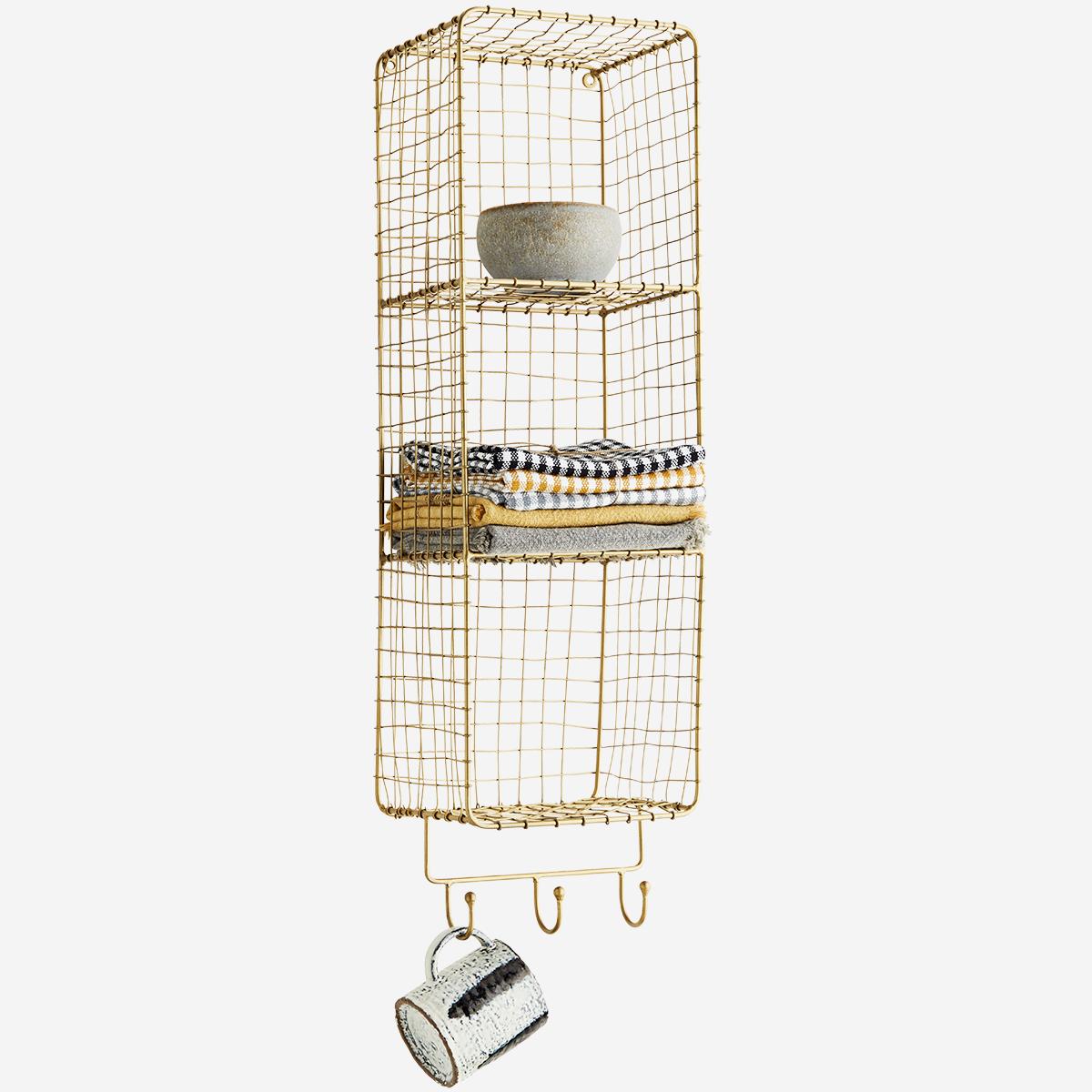 Etagère murale verticale dorée 3 paniers et à 3 crochets * Madam Stoltz