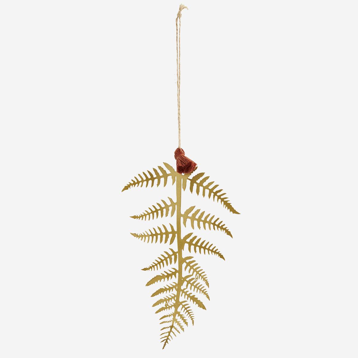 Décoration de Noël - feuille à suspendre en fer doré * Madam Stoltz