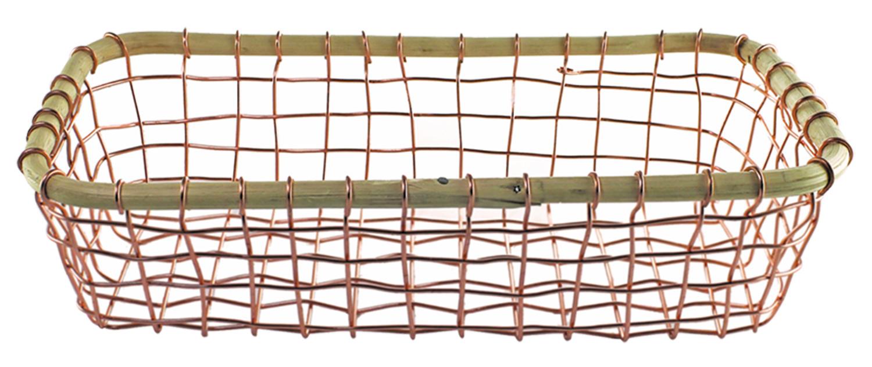 Panier rectangulaire en fil cuivré et bois de canne à sucre * Be Home