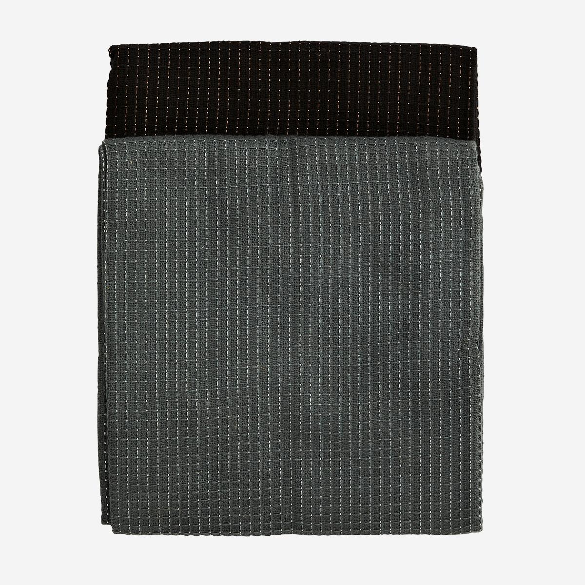 Set de 4 essuies de vaisselle gaufrés gris foncé et lurex argenté / noir et lurex cuivré * Madam Stoltz