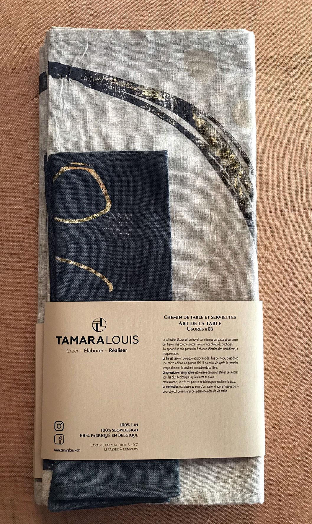 Chemin de table et serviettes (2 personnes) en lin belge - teinte sésame / Usures#03 * Tamara Louis Sérigraphie