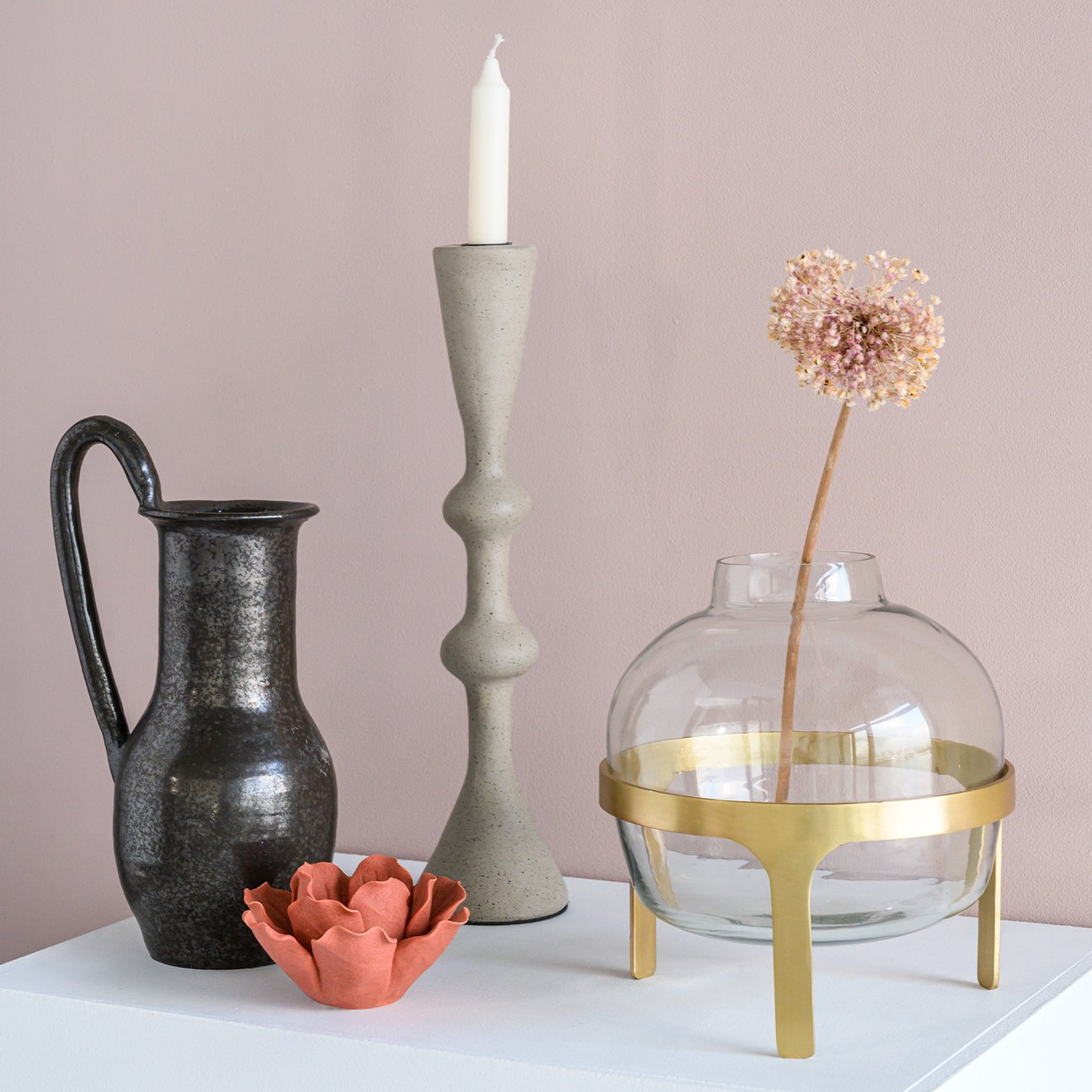 Vase transparent sur pied doré * Urban Nature Culture