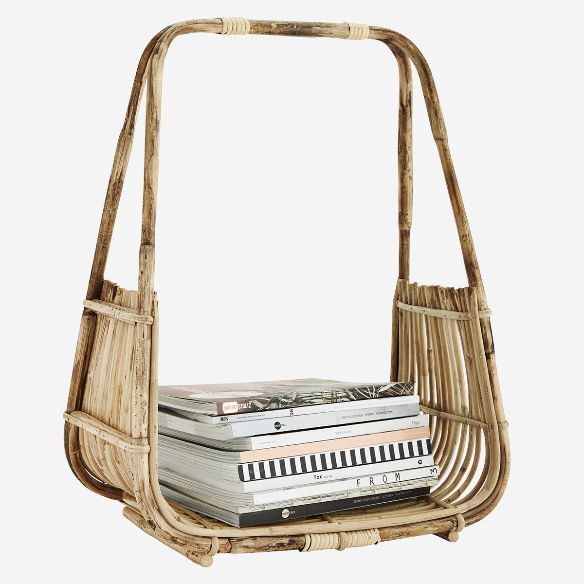 Panier ouvert porte-bûches ou porte-journaux en bambou * Madam Stoltz
