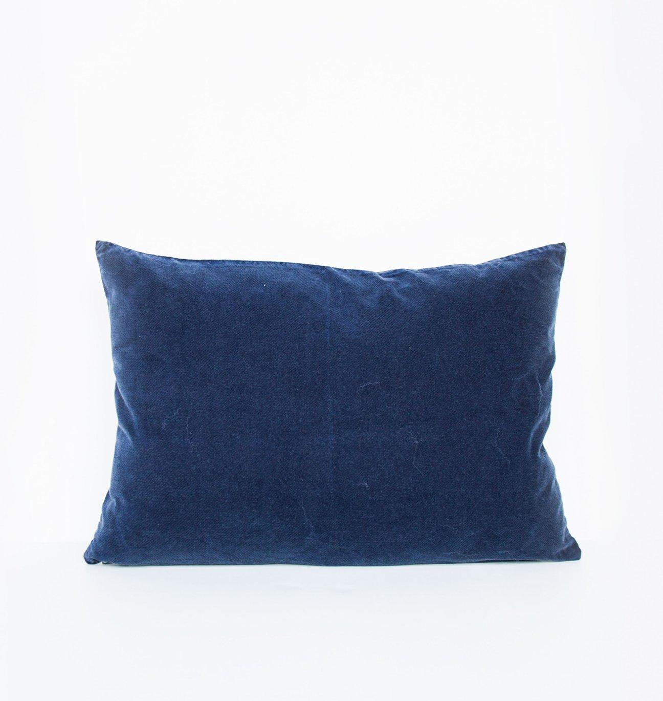 Coussin complet velours vintage Bleu marine 40x60 cm * Urban Nature Culture