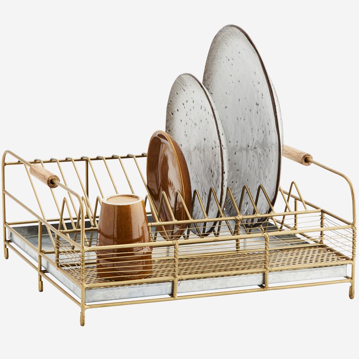 Egouttoir à vaisselle métal doré, zinc et poignée bambou * Madam Stoltz